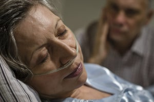Woman in Hospital with breathing tube | Texas Talcum Powder Cancer Lawsuit