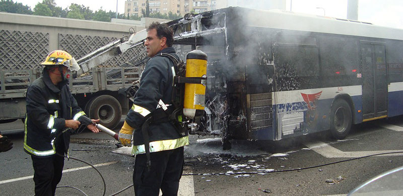 A Bus with Fire Damage | California Bus Accident Attorney